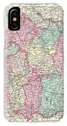 1855 Colton Map Of Bavaria Wurtemberg And Baden Germany IPhone Case
