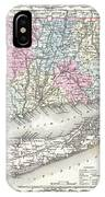 1855 Colton Map Of Connecticut And Long Island IPhone Case