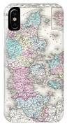 1855 Colton Map Of Denmark IPhone Case