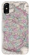 1855 Colton Map Of France IPhone Case