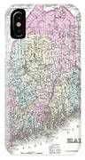 1855 Colton Map Of Maine IPhone Case