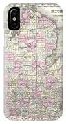 1855 Colton Map Of Michigan IPhone Case