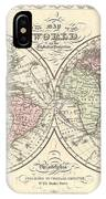 1856 Desilver Map Of The World  IPhone Case