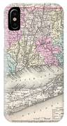 1857 Colton Map Of Connecticut And Long Island IPhone Case