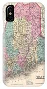1857 Colton Map Of Maine IPhone Case