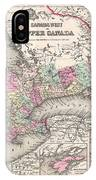 1857 Colton Map Of Ontario Canada IPhone Case