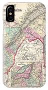 1857 Colton Map Of Quebec And New Brunswick Canada IPhone Case