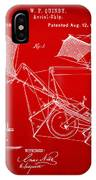 1879 Quinby Aerial Ship Patent - Red IPhone Case