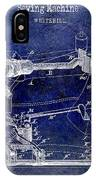 1885 Sewing Machine Patent Drawing Blue IPhone Case