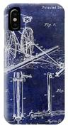 1891 Bicycle Patent Drawing Blue IPhone Case