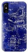 1901 Barber Chair Patent Drawing Blue IPhone Case