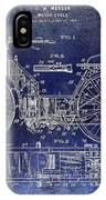 1901 Motorcycle Patent Drawing Blue IPhone Case