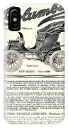 1907 - Columbia Victoria Phaeton Electric Automobile Advertisement IPhone Case