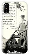 1921 - Moto Mower Lawnmower Advertisement IPhone Case