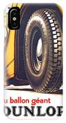 1924 - Dunlop Tires French Advertisement Poster - Color IPhone Case