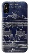 1930 Ship's Hull Patent Drawing Blue IPhone Case