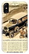 1933 - Chevrolet Commercial Automobile Advertisement - Old Gold Cigarettes - Color IPhone Case