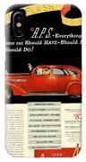 1935 - Nash Aeroform Automobile Advertisement - Color IPhone Case