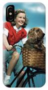 1940s 1950s Smiling Teen Girl Riding IPhone X Case