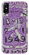 1949 Belgium Stamp - Brussels Cancelled IPhone Case