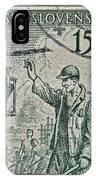 1954 Czechoslovakian Construction Worker Stamp IPhone Case