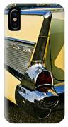 1957 Chevy Bel Air Yellow Fin And Tail Light IPhone Case