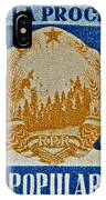 1957 Romanian Coat Of Arms And Flags Stamp IPhone Case
