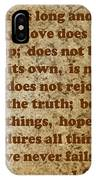 1st Corinthians 13 Verses 4-7 IPhone Case