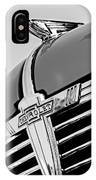 1938 Chevrolet Coupe Hood Ornament -0216bw IPhone Case