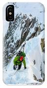 A Man Alpine Climbing A Ridgeline IPhone Case