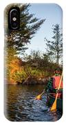 A Young Couple Paddles A Canoe On Long IPhone Case