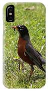 American Robin Gathering Worms IPhone Case