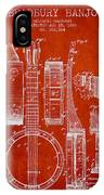 Banjo Patent Drawing From 1882 - Red IPhone Case
