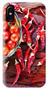 Basket Of Ripe Cherry Tomatoes And Dried Red Chillies On Rustic  IPhone Case