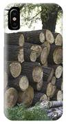 Cut Tree Trunks Piled Up For Further Processing After Logging IPhone Case