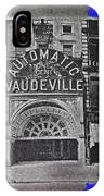 Film Homage Automatic 1 Cent Vaudeville Peep Show Arcade C.1890's New York City Collage 2013 IPhone Case