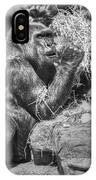 Gorilla Eats Black And White IPhone Case