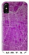 Santiago Street Map - Santiago Chile Road Map Art On Colored Bac IPhone Case