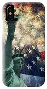 Statue Of Liberty And Fireworks IPhone Case