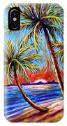 Three Palms On The Beach IPhone Case
