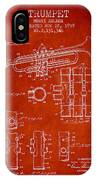 Trumpet Patent From 1939 - Red IPhone Case