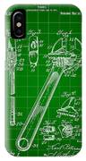 Wrench Patent 1915 - Green IPhone Case