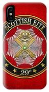 29th Degree - Scottish Knight Of Saint Andrew Jewel On Red Leather IPhone Case