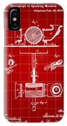 Edison Phonograph Patent 1878 - Red IPhone Case