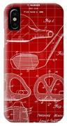 Golf Club Patent 1926 - Red IPhone Case