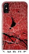 Hamburg Street Map - Hamburg Germany Road Map Art On Colored Bac IPhone Case