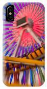 Santa Monica Pier Ferris Wheel And Roller Coaster At Dusk IPhone Case