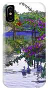 Ducks And Flowers In Lagoon Water IPhone Case