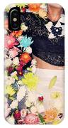 Fashion Model Posing With Flowers IPhone Case