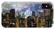 Hong Kong Harbor From Victoria Peak At Night IPhone Case